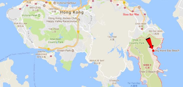 Hong Kong map with Transportation to Big Wave Bay